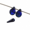 Czech Preciosa Pip Beads Dark Blue Transparent Travertine